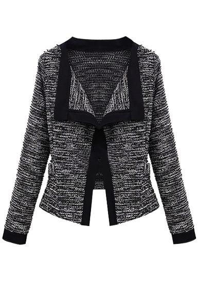 Contrast Trim Cardigan - Black - Lookbook Store