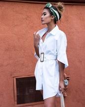 dress,white dress,short dress,black head scarf,head scarf,green headband