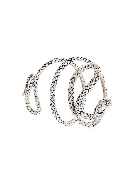 Roberto Cavalli snake women arm bracelet grey metallic jewels