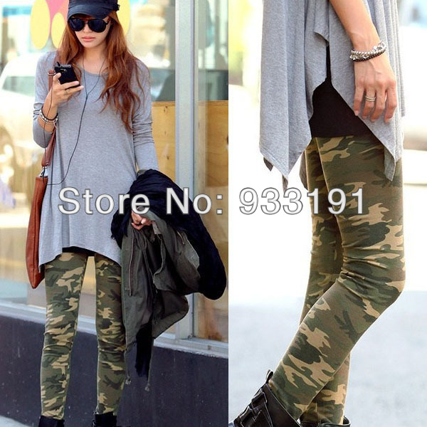 Womens Camouflage Army Print Stretch Cool Sexy Pants Skinny Leggings Trousers Free Shipping&Drop Shipping-in Pants & Capris from Apparel & Accessories on Aliexpress.com