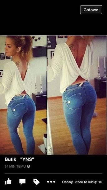 jeans blouse top draped top drape open back top white top longsleeve shirt wrup freddy wrup freddy pants strech pants