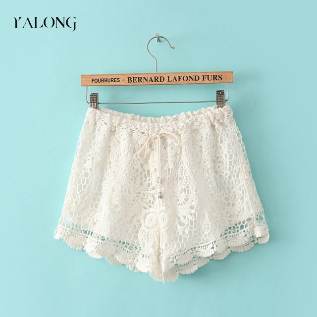 Online Shop New 2014 women summer fashion shorts hollow crochet lace elastic waist flower hollow out ladies shorts free shipping|Aliexpress Mobile