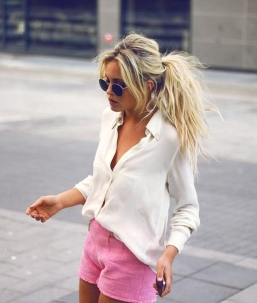 shorts clothes clothes pink preppy blouse shirt ponytail blonde hair hair/makeup inspo