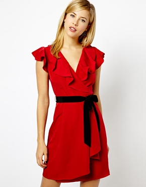 A Wear | A Wear Ruffle Neck Dress With Belt at ASOS