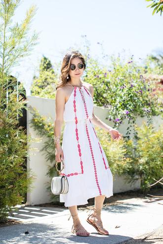 dress tumblr midi dress halter neck halter dress sandals flat sandals bag white bag sunglasses shoes