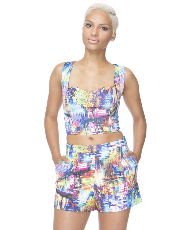 blue shorts blue crop top two-piece multicolor