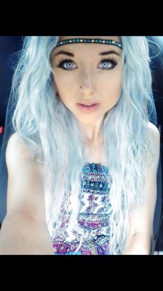 hat headband hairstyles pastel blue baby blue beads gold mint turquoise black blue eyes eyes wavy pastel hair
