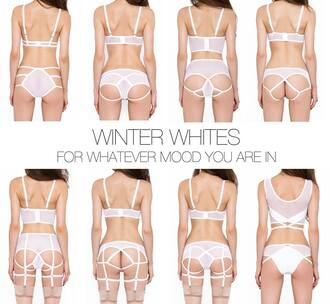 underwear straps lingerie knickers sexy cute panties fashion style recklesswolf reckless wolf wolfpack briefs clothes bralette bra outfit cut-out white white underwear white lingerie backless suspenders stockings winter outfits