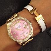 jewels,pink,watch,rolex,cute,girly