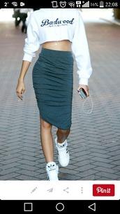 skirt,adidas,pencil skirt,grey,white,bun,cropped hoodie,shoes,top knot bun,sweater,shirt,zendaya,green