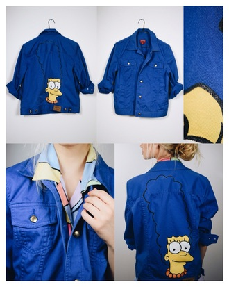 jacket tumblr denim denim jacket the simpsons jeans blue flashes of style tv/movies mtv tumblr outfit tumblr girl tumblr clothes tumblr shirt