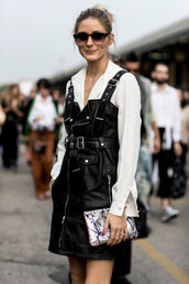 dress,tumblr,black dress,leather dress,mini dress,shirt,white shirt,sunglasses,pouch,olivia palermo