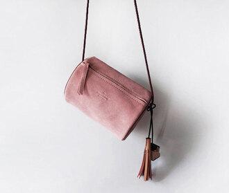 bag etsy pink pink bag suede bag crossbody bag tassel dusty pink baby pink