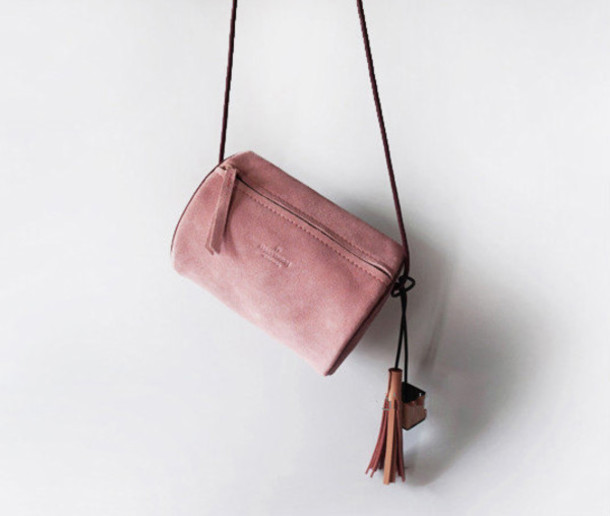Bag: etsy, pink, pink bag, suede bag, crossbody bag, tassel, dusty ...