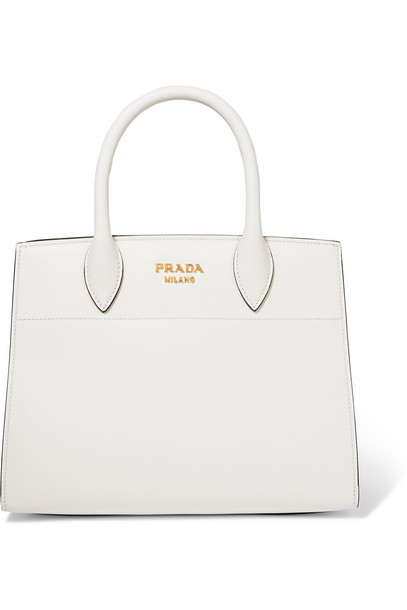 06d1680bd3ea Prada Bibliothèque Watersnake-Paneled Leather Tote in white - Wheretoget