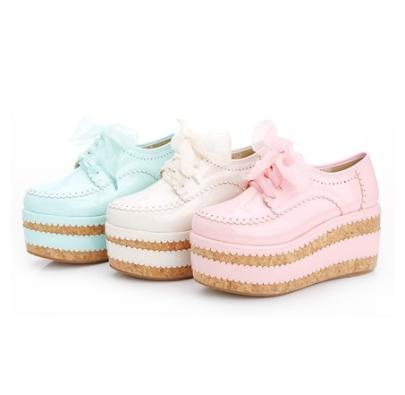 leather pastel wave lace up platform shoes from Super Animals Temples on Storenvy