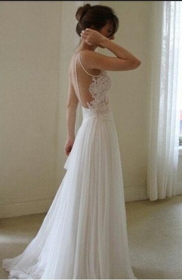 Custom made floor length backless lace wedding dresses