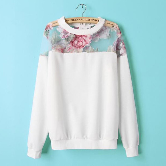 white top top hoodie sweater floral organza
