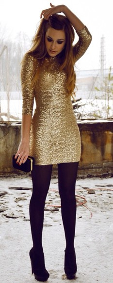 dress sparkling dress gold dress sparkling black shoes gold sequin dress black stockings new years dress gold winter party dress