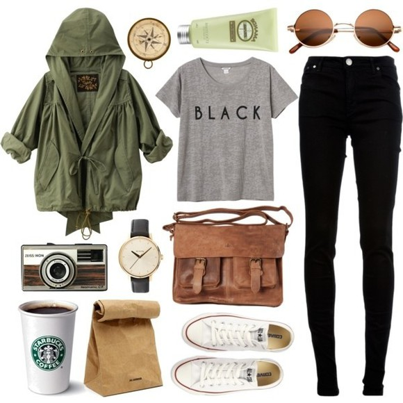 converse jacket green cute army jacket starbucks t-shirt black jeans sunglasses round sunglasses watch converse chuck taylor i really want this ineed pants bag fashion bags retro sunglasses white allstars