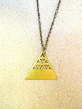gold jewels necklace triangle aztec hipster jewelry