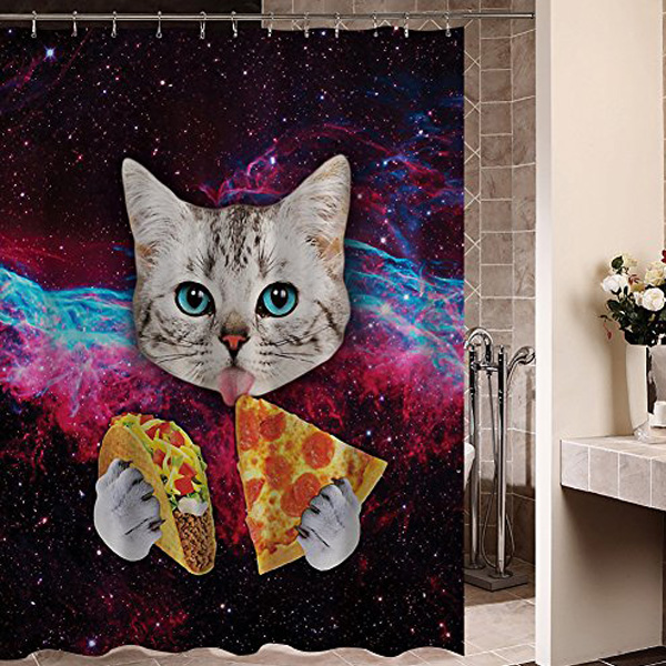 Space Cat Pizza Shower Curtain
