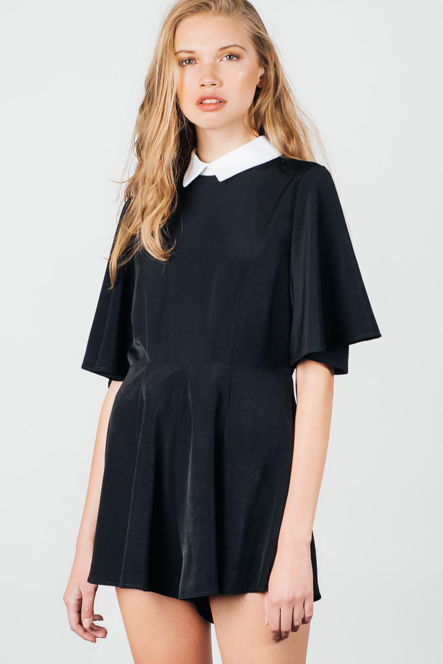 Nightfall lace collar flare sleeve black playsuit