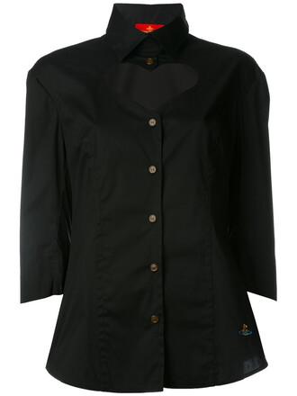 shirt cut-out women spandex cotton black top