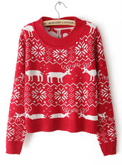 sweater,bqueen,christmas,red,deer,round neck,fashion,girl,90s style