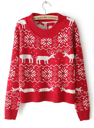 sweater bqueen christmas red deer round neck fashion girl 90s style