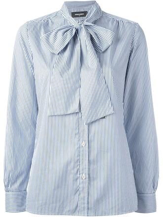 shirt bow blue top