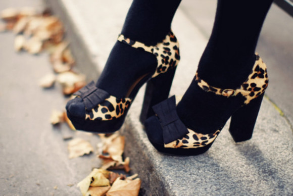 mary jane high heels shoes leopard print peep toe bows