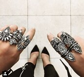 jewels,armor ring,silver ring,statement ring