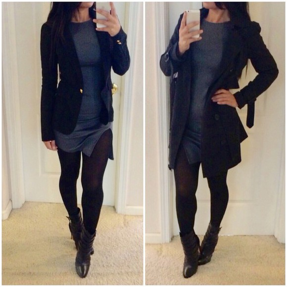 jacket coat trench coat style trendy dress asymmetrical grey sweater stickings. outfit boots booties black black boots bodycon dress slit skirt slit dress long sleeve dress tights lulus.com kim kardashian