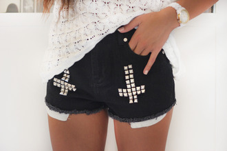 shorts black double rivet silver cross clothes outfit summer hipster girly rock hard beautiful blouse look