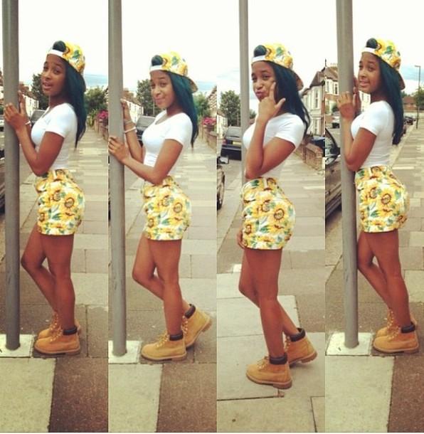 Shorts baddie baddest yellow daisy summer outfits shawty summer time fine hat shirt ...