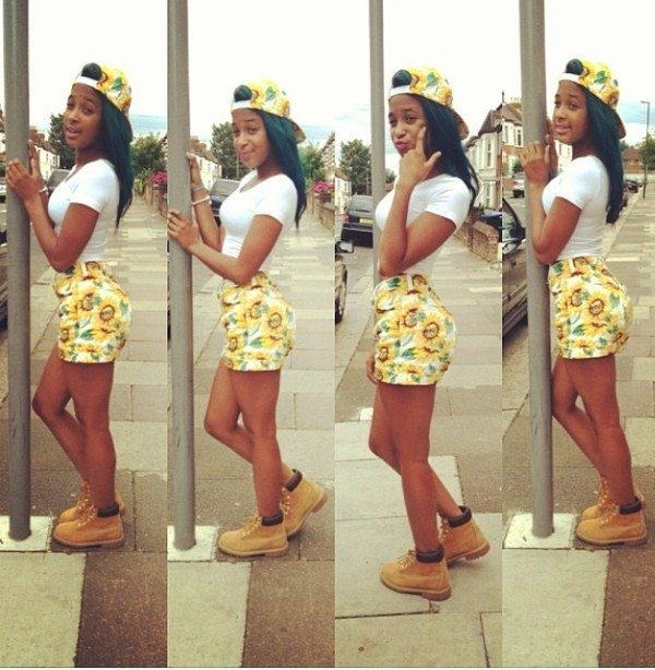 shorts baddies baddies yellow daisy summer outfits shawty summer time fine hat shirt shoes