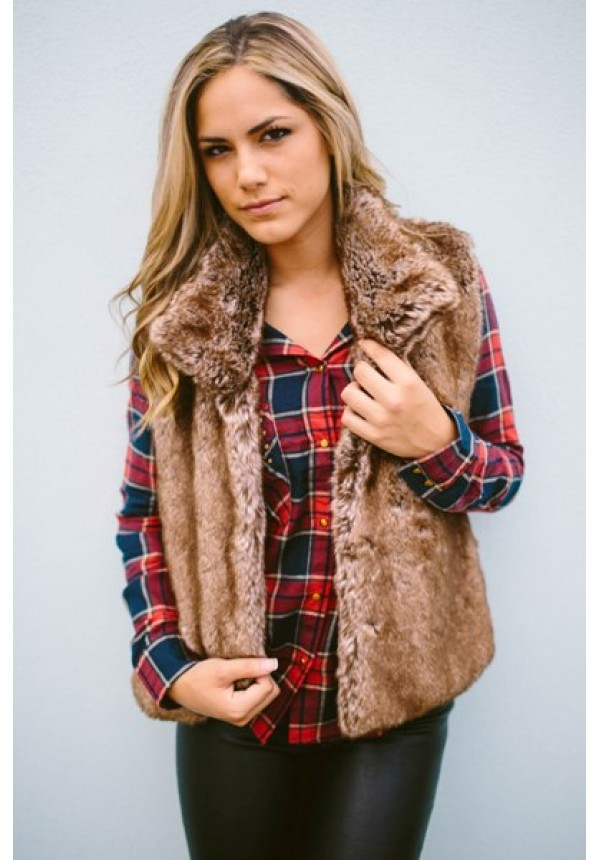 The softest brown vest you ever did see with oversized colla