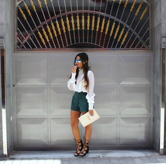 style by nelli blogger shorts suede suede shorts strappy sandals ysl