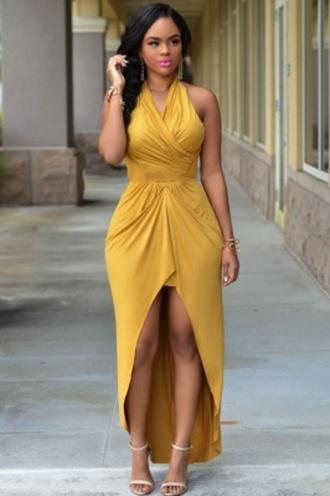 dress maxi maxi dress high low sleeveless sexy wots-hot-right-now halterneck