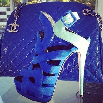 shoes giuseppe zanotti blue sandals sandals high heels platform shoes celebrity style fashion blue bag