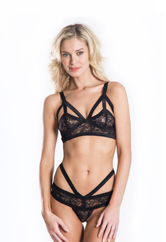 underwear lingerie sexy caged black bra panties lace hot freevibrationz