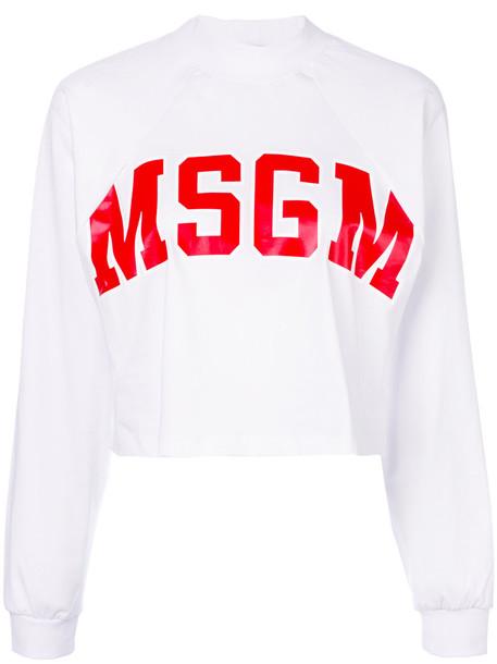 MSGM top women white cotton print