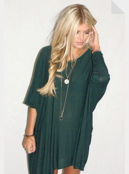 dress flowy loose shirt dress baggy forest green short 3/4 sleeves