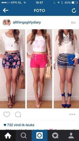 shorts pink shorts blouse shoes