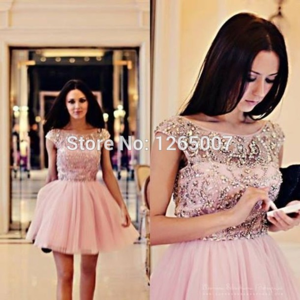 Aliexpress.com : Buy Bateau Neck Cap Sleeves Backless Open Back Nice Beaded Pattern Top Mini Short Party Dresses Gowns Lace from Reliable lace long sleeve wedding dress suppliers on SFBridal