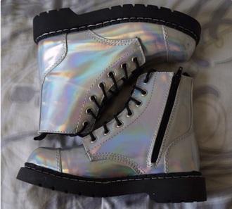shoes holographic holograph metallic shiny combat boots combat boots