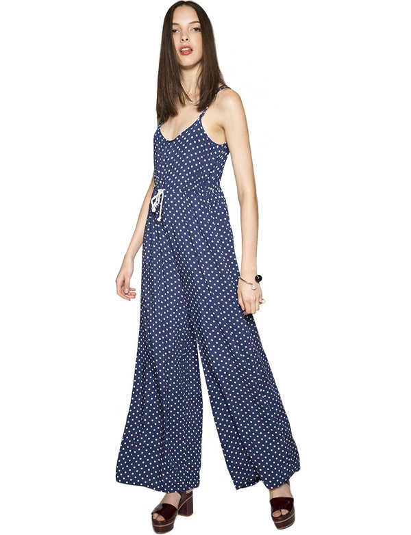 jumpsuit polka dot jumpsuit fall outfits polka dot print polka dots fall outfits pre fall wide leg jumpsuit minkpink trendy back to school pixie market pixie market girl