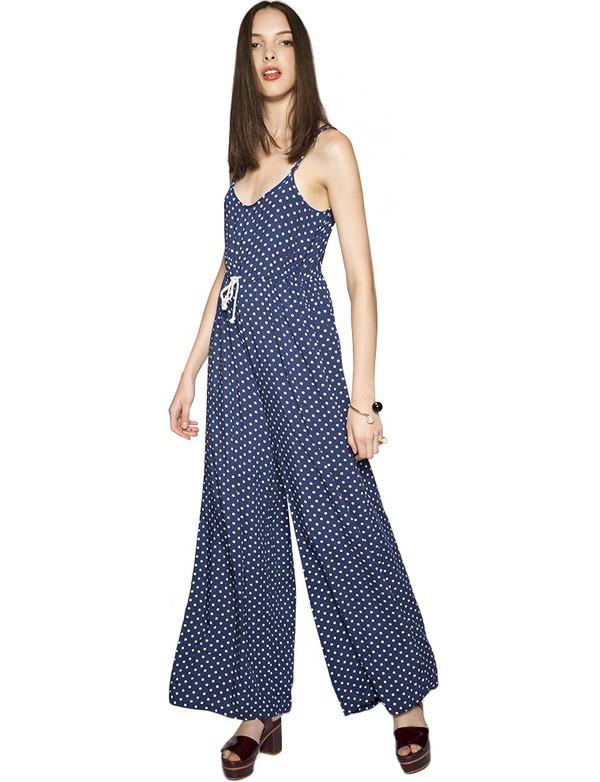jumpsuit polka dot jumpsuit fall outfits polka dot print polka dots fall outfits pre fall wide leg jumpsuit minkpink trendy back to school pixie market pixie market girl