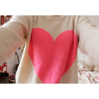 sweater heart pink white warm winter outfits cute girly nice pretty love oversized sweater pullover knitwear sweater weather heart sweater